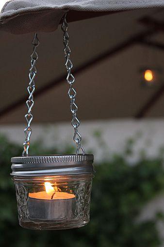 Mini mason jars as a cute accessory to your patio
