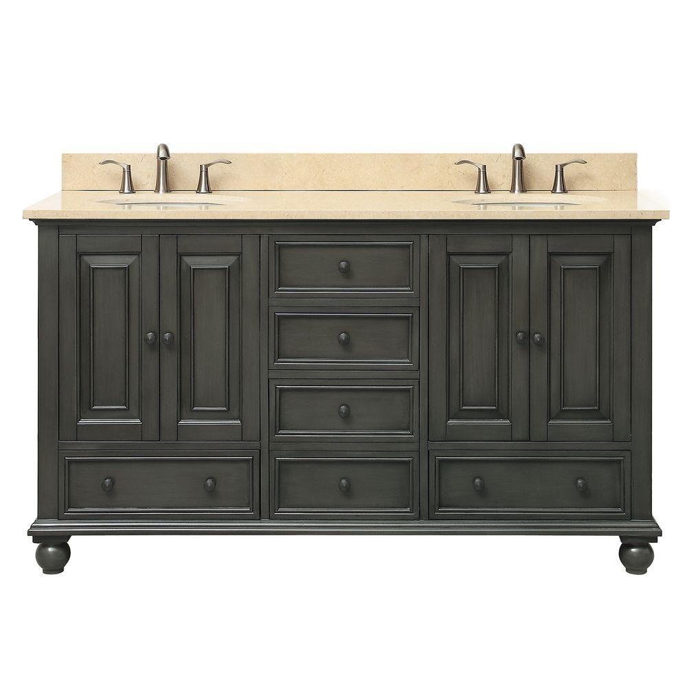 Avanity Thompson 61 In W X 22 In D X 35 In H Vanity In Charcoal Glaze With Marble Vanity Top In Galala Beige With Basin Thompson Vs60 Cl B Double Sink Bathroom Vanity Double
