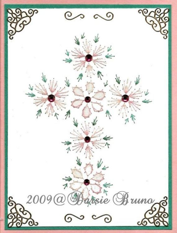 Floral Easter Cross Paper Embroidery Pattern for Greeting Cards ...