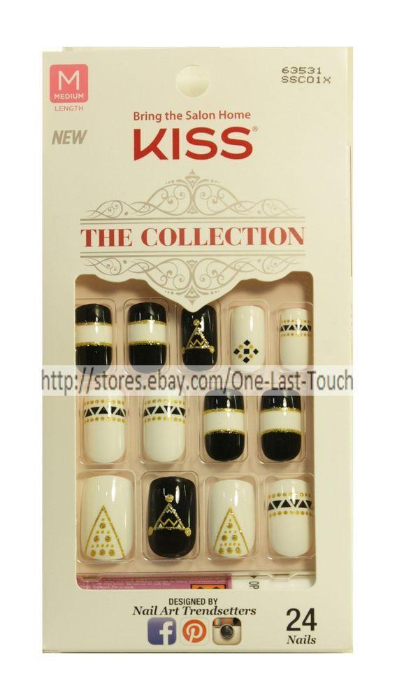 Kiss 24 Glue Press On Nails Black White Gold Glitter The Collection Medium New Black Nails Press On Nails Black White Gold