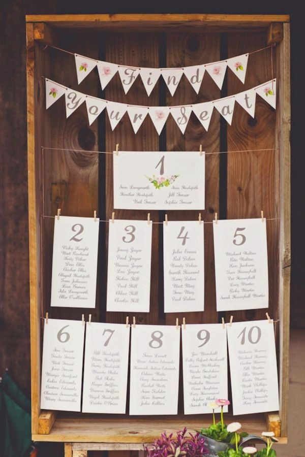 Creative Wedding Seating Charts Made Using Wooden Crate