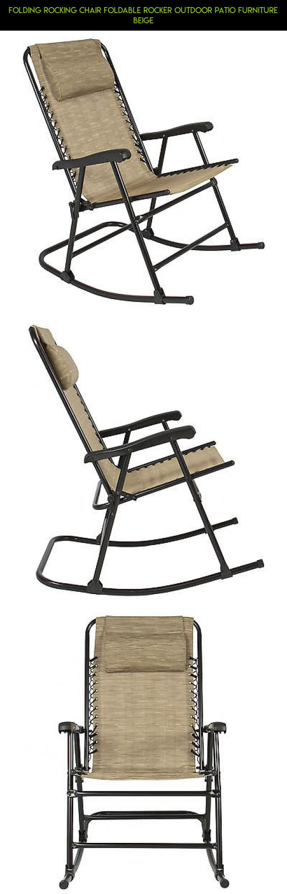 Outdoor folding chair parts - Folding Rocking Chair Foldable Rocker Outdoor Patio Furniture Beige Chair Parts Technology