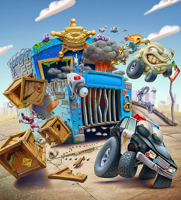 2D render of Playsets and car of Trash Wheels series from Moose Toys, Australia