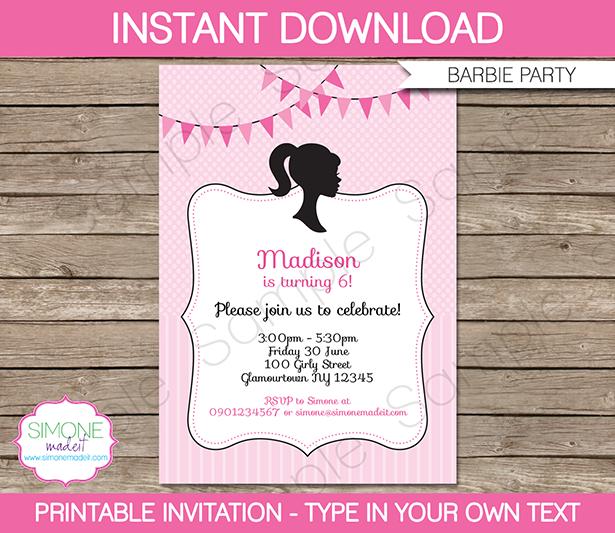 barbie party theme printables & invitations | barbie birthday, Birthday invitations