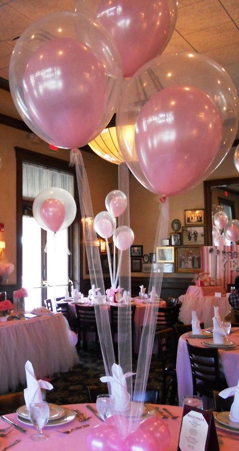Good for a wedding!!! tulle instead of string...brilliant and CUTE!! And balloons inside of balloons!