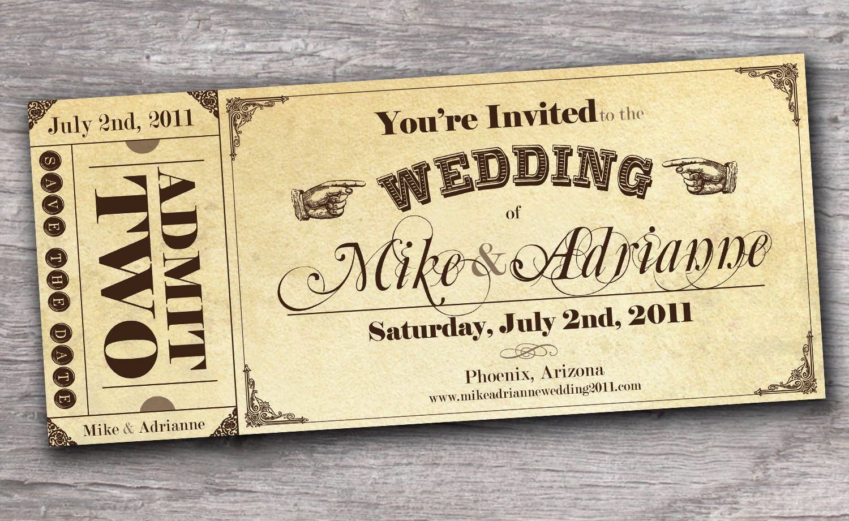 Vintage Western Ticket Save the Date Wedding Invitation Sample FREE ...