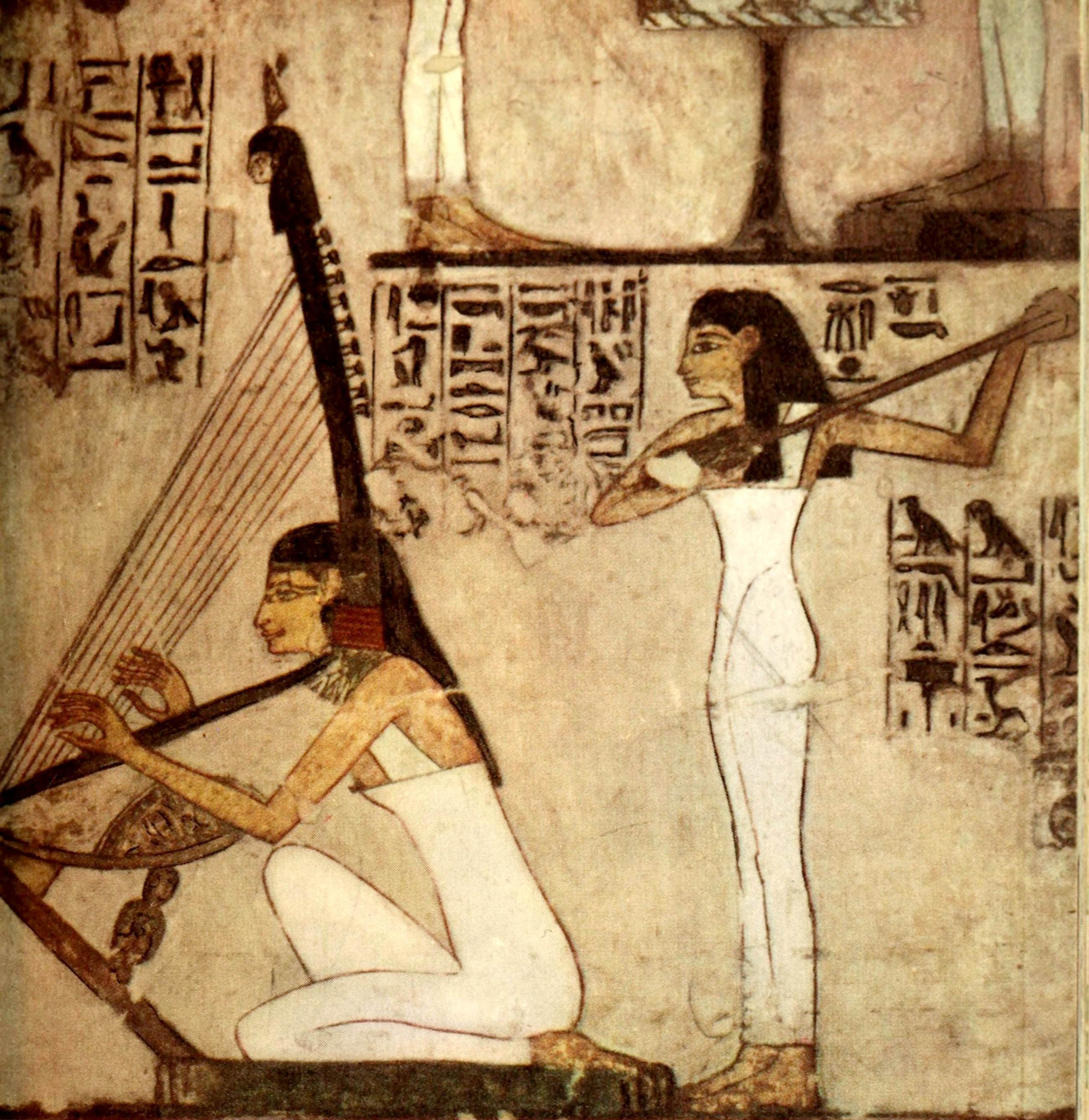 Ancient - Egyptian Wall Paintings 1956, Girls playing the harp and ...
