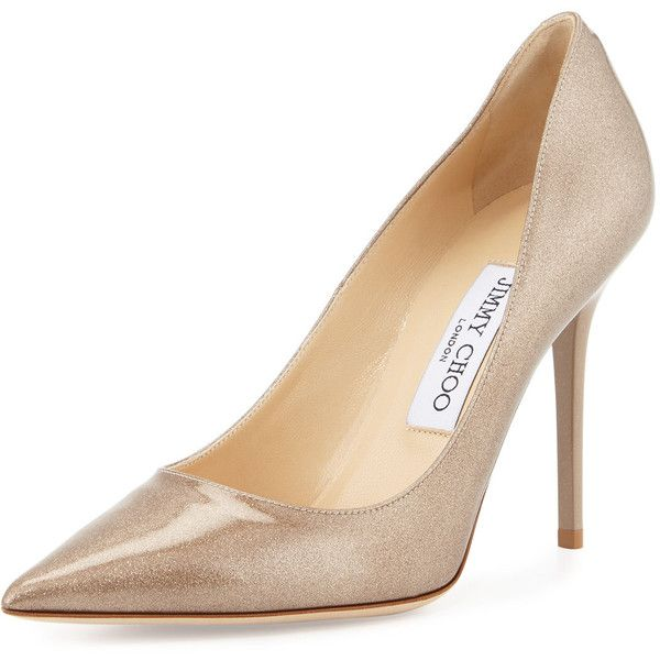 b76f9f0f37f3 Jimmy Choo Abel Metallic Pointed-Toe Pump ($670) ❤ liked on Polyvore  featuring shoes, pumps, sand, metallic pumps, glitter pumps, pointy-toe  pumps, ...