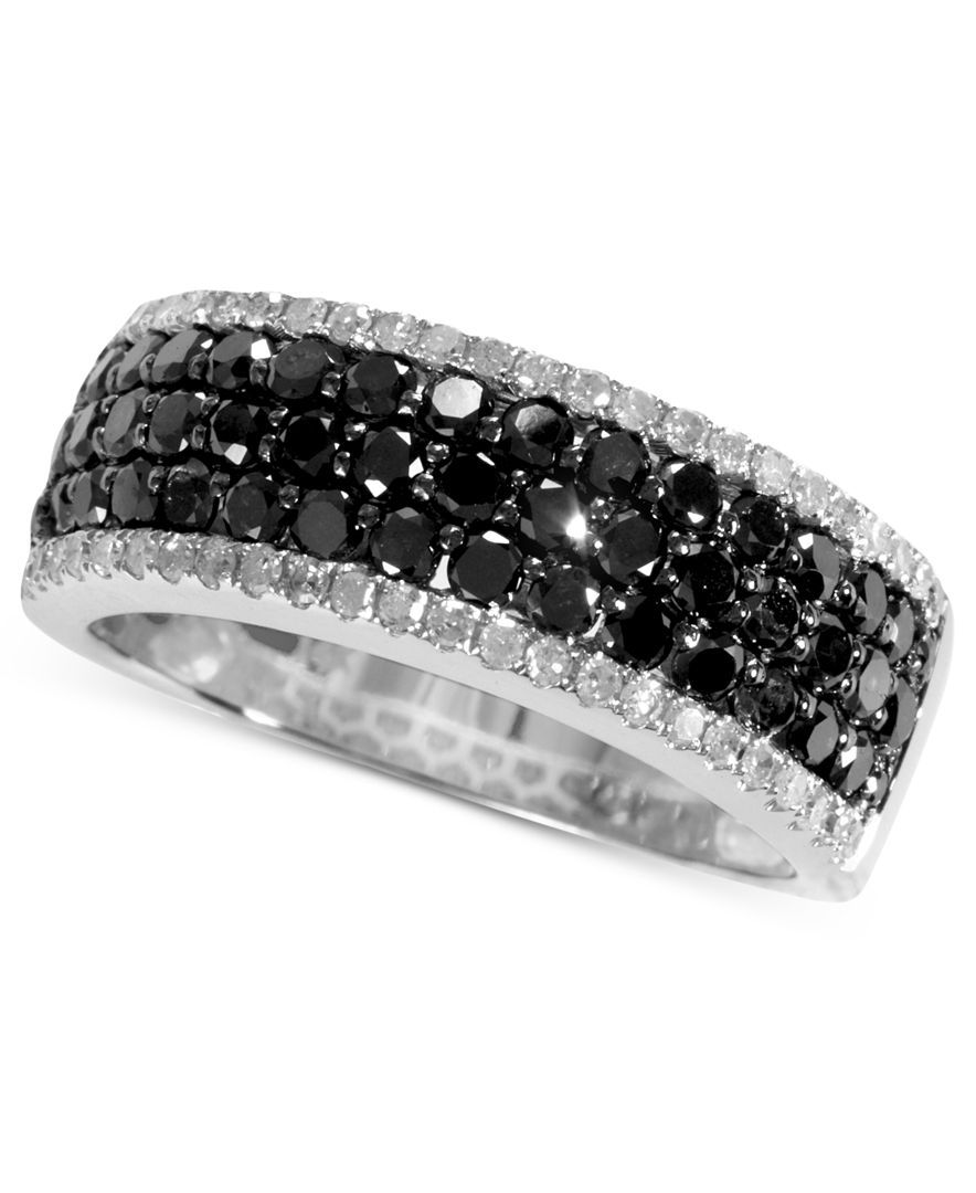 Caviar by Effy Black (1 ct. t.w.) and White Diamond (1/5 ct. t.w.) Band in 14k White Gold