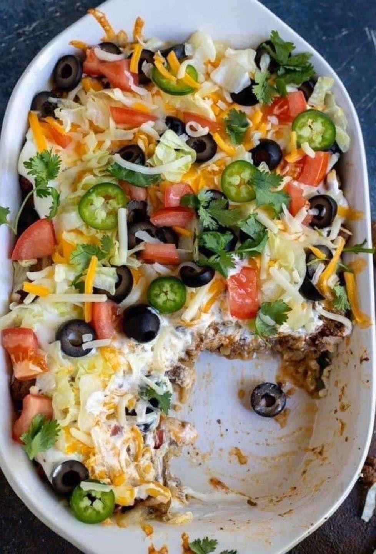 Keto taco casserole easy bake recipe in 2020 low carb