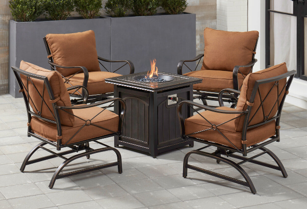 Patio Furniture With A Fire Pit In 2020 Fire Pit Chairs Fire Pit Sets Hanover Patio Furniture