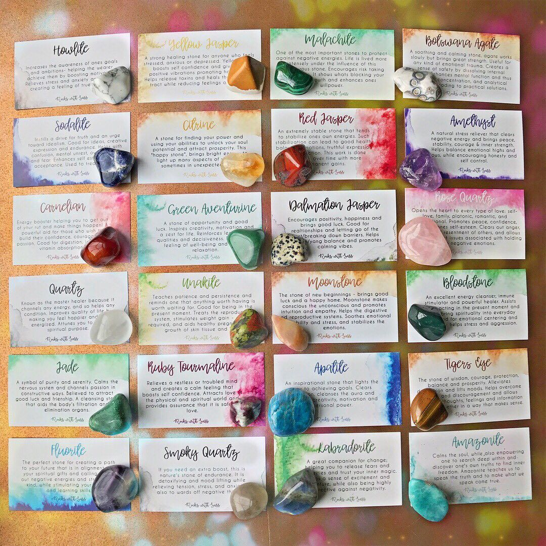 Crystal meaning card set crystal healing stones crystal