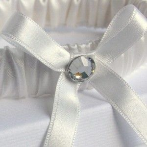 Modern silk vintage wedding garter with large diamante crystal