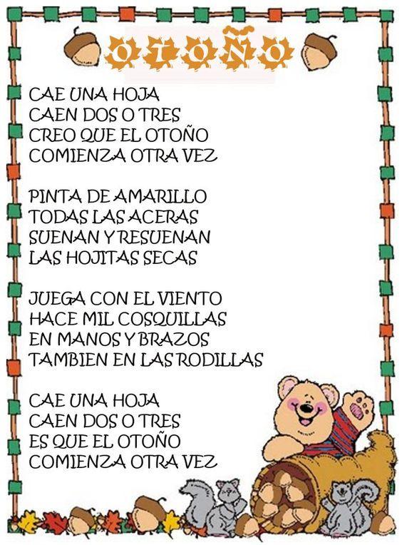 Imagenes Con Poemas Cortos Para Ninos Poesias Infantiles Elementary Spanish Lessons Kindergarten Songs Elementary Spanish