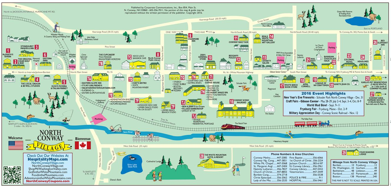 Food in Mt. Washington Valley & North Conway, NH - White Mountains Food in Mt. Washington Valley in New Hampshire's White Mountains Map & Guide is the best food related publication about North Conway, NH's independently owned restaurants and food related businesses located in New England. All of the businesses in this map are located within North Conway Village or less than a 30 .