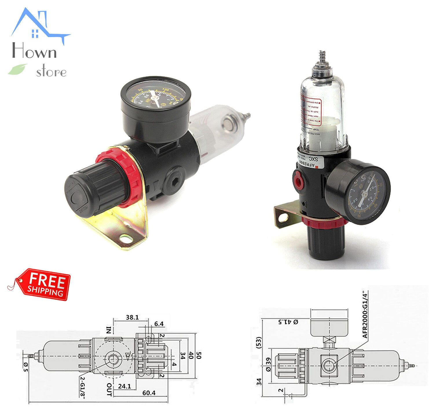 "1/4"" Air Filter Compressor Regulator Gauge Water Oil"