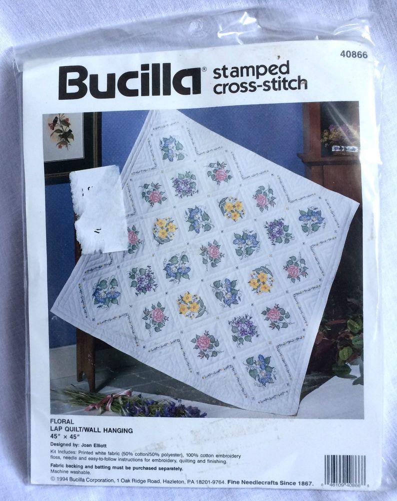Bucilla *floral* St&ed Cross Stitch Lap Quilt Wall Hanging Kit ... : stamped cross stitch lap quilts - Adamdwight.com