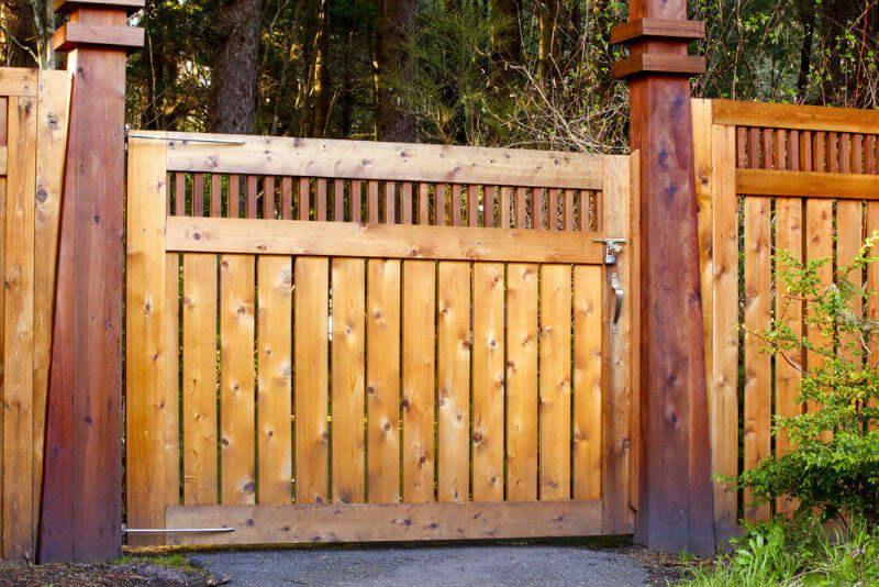 Modern Decorative Wooden Gate Fence As An Entrance To A Garden