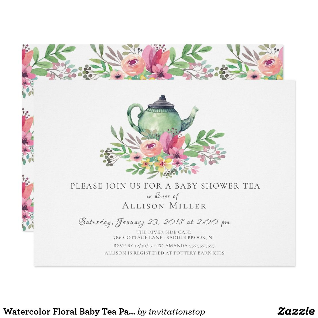 Watercolor Floral Baby Tea Party Invitation | Babies and Baby ...