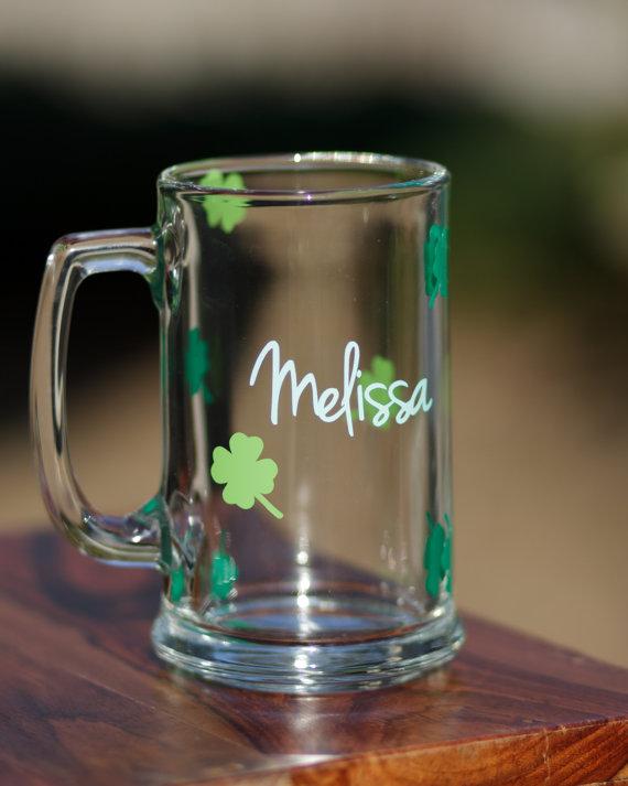 Irish beer mug. Personalized, custom beer glass with name ...  Irish Beer Mug