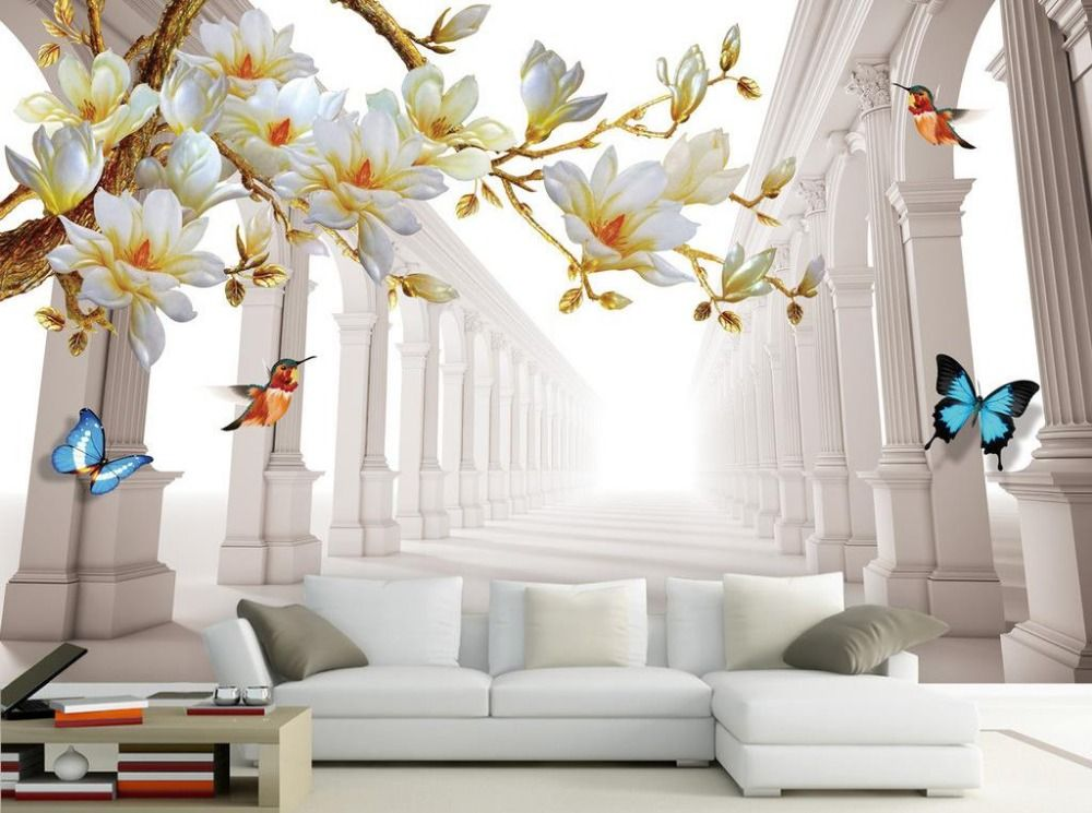 Wallpaper · Fashion Magnolia Space Backdrop 3d Wall Murals Wallpaper 3d Flower  Wallpaper Home Decoration