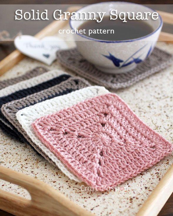 Solid Granny Square - Free Crochet Pattern   Häkeln, Häkelideen und ...
