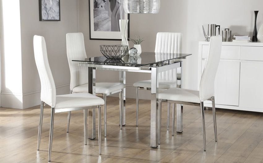 Space Square Chrome Black Glass Extending Dining Table With 4