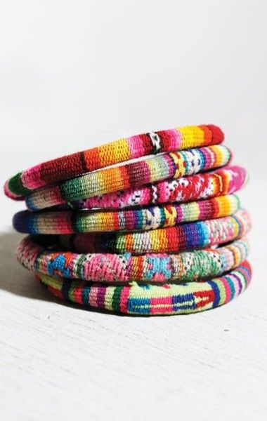 I want to do this to old bangles and leftover yarn...