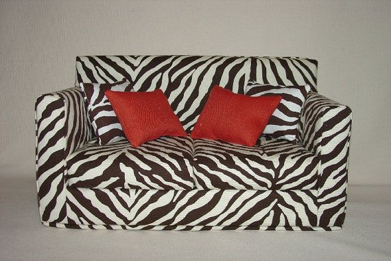 Tissue Kleenex Box Cover Homemade Couch ZEBRA PRINT Barbie Doll Furniture  By Honeybear | American Girl Doll Crafts | Pinterest | Homemade Couch, ...