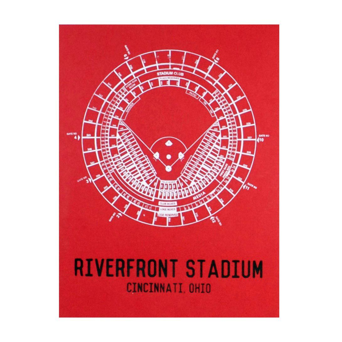 Riverfront Stadium Seating Chart Print Cincinnati Prints Screen Printing