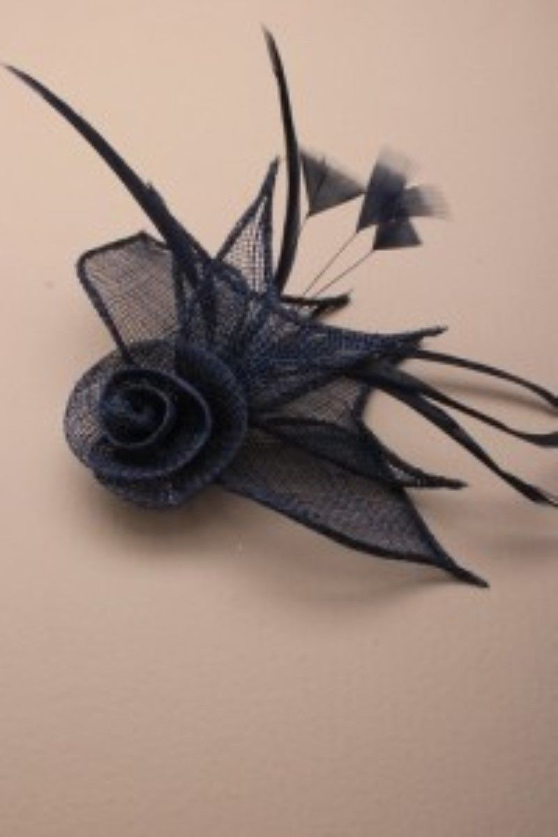 NAVY FLOWER FASCINATOR ON A BLACK HEADBAND RACES WEDDINGS PROM