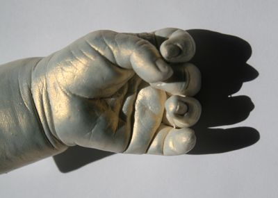 Flash Copper Sheer Paint on Baby Hand Cast made from 380-CC alginate