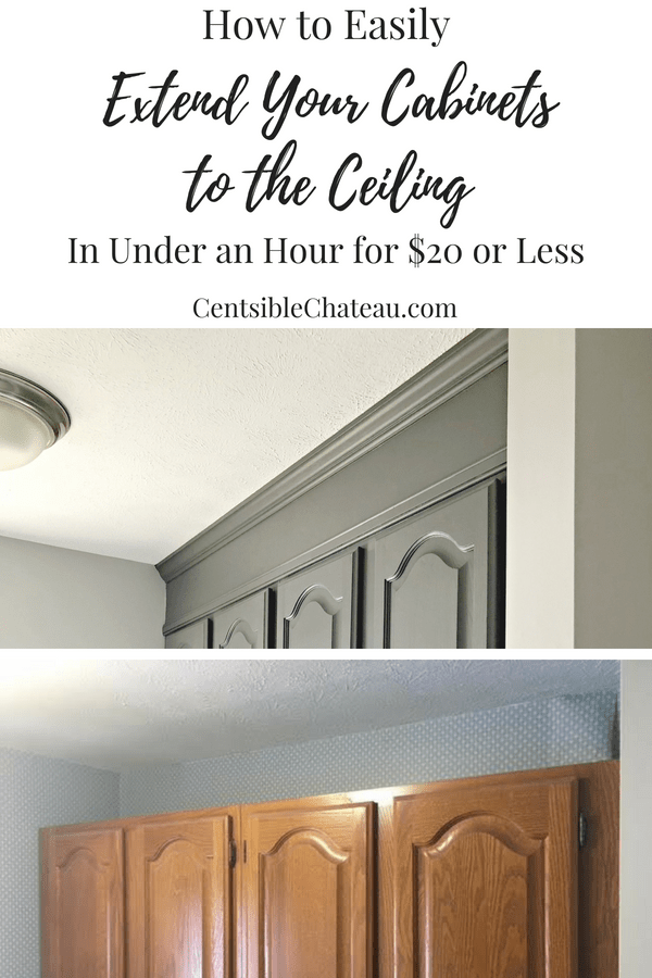 How To Extend Your Cabinets To The Ceiling In Under An Hour For 20 Or Less Kitchen Cabinets Makeover Diy Kitchen Cabinets Diy Kitchen