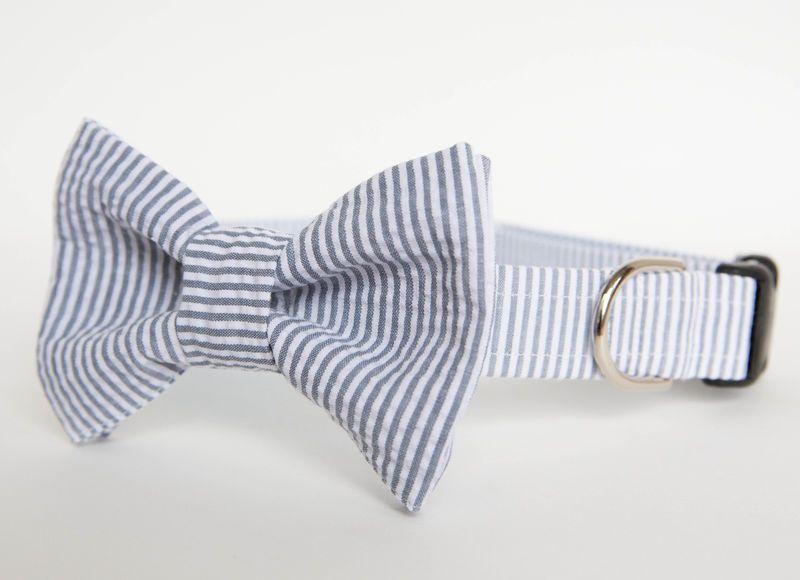 Preppy Bowtie for Dog Collar Blue and White Seersucker Pet Bow Tie Dog Bowtie for Wedding Dog Bowtie