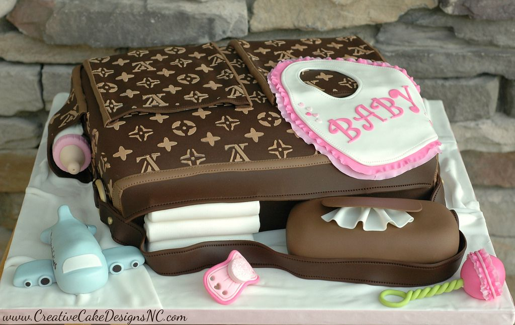 532d93a2b423 This cake was created for the  Hanes  Family (the under garment company).  Completely edible Louis Vuitton Diaper Bag Cake. All accessories are  handmade and ...