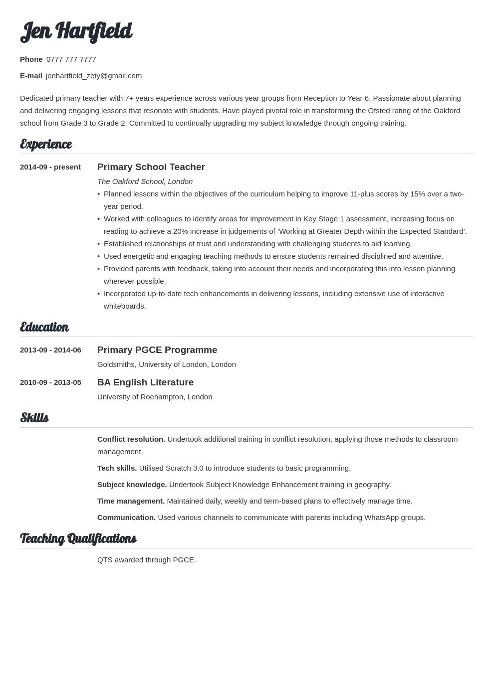 uk teacher cv example template valera in 2020 Teacher cv