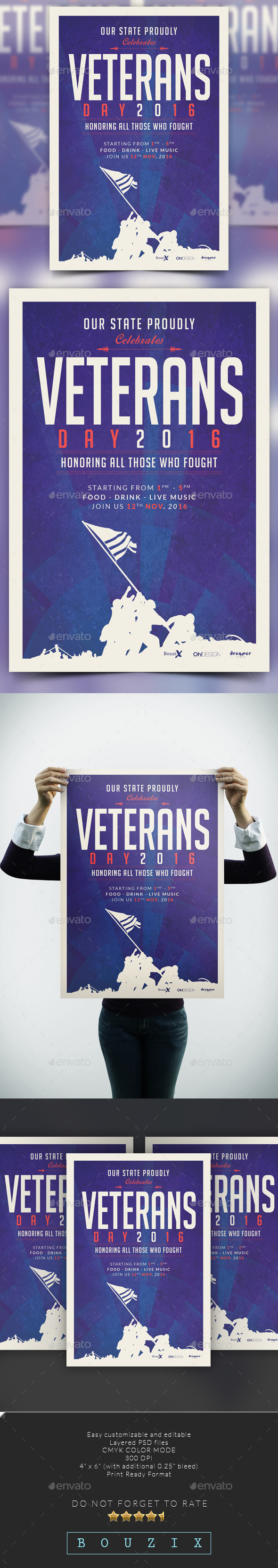 Veterans Day Poster Flyers Print Templates 4x6 Psd Texture