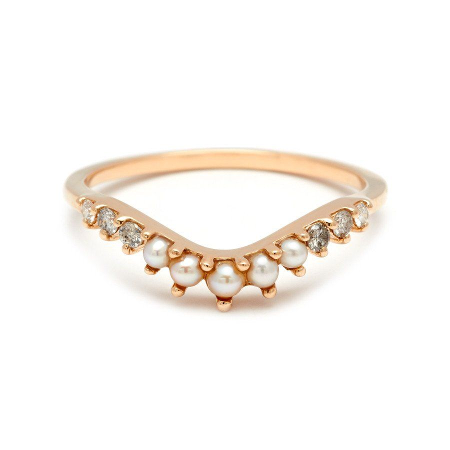 tiara curve band - seed pearl & gray and white diamonds | diamond