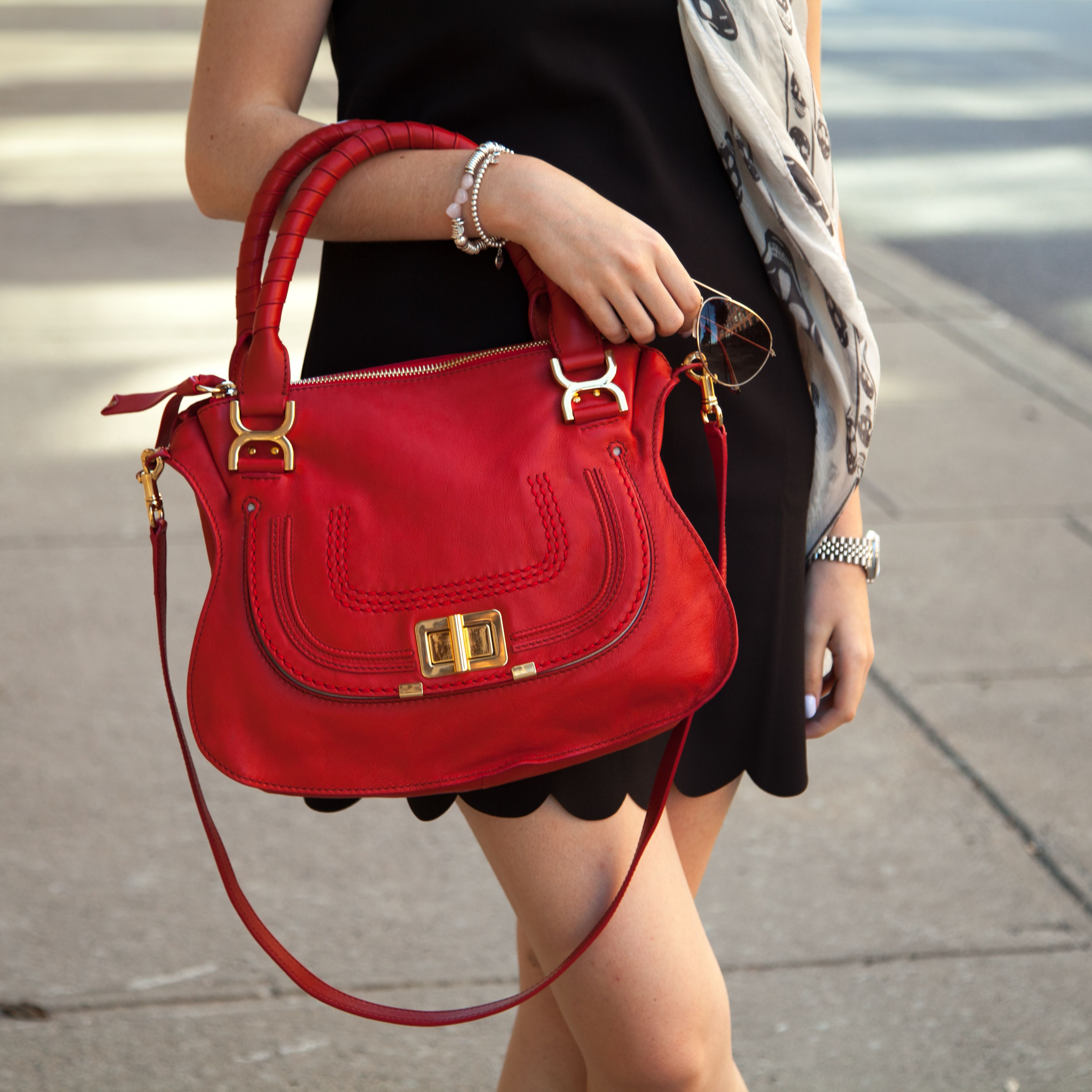 Chloe Marcie Bag In Red Leather Find Beautiful Pre Owned Luxury