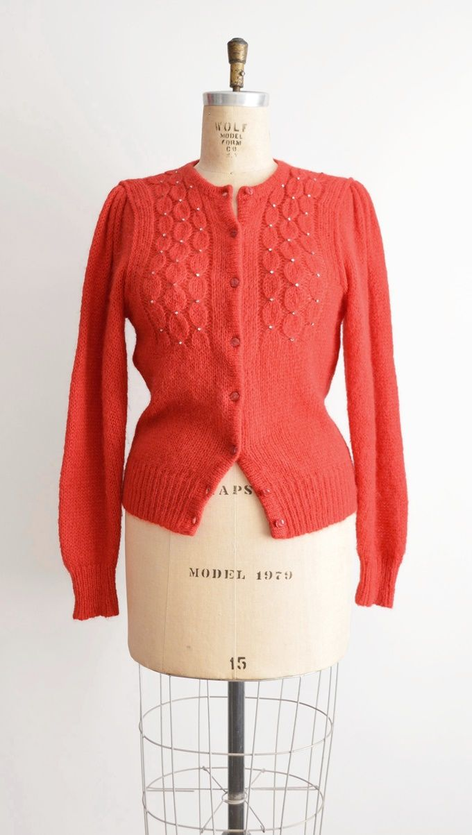 Vintage Mohair Cardigan, Red Cardigan Sweater, Womens Sweater M ...