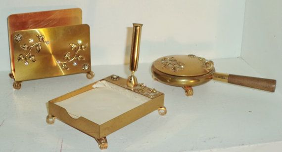 rhinestone art deco vanity desk set pen paper holder card holder rh pinterest com