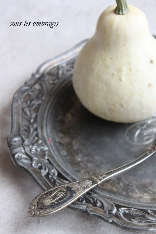 Sous les ombrages: fork and dish of silver an old
