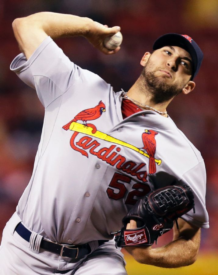 starting pitcher Michael Wacha throws against the Cincinnati Reds in the first inning. Wacha went 6 2/3 innings with 7 K's.  Cards lost 1-0.  4-02-14
