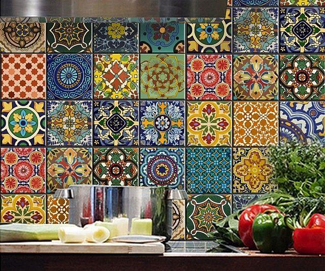 Bleucoin Tile Decal Backsplash: Mexican Talavera Tile Decal