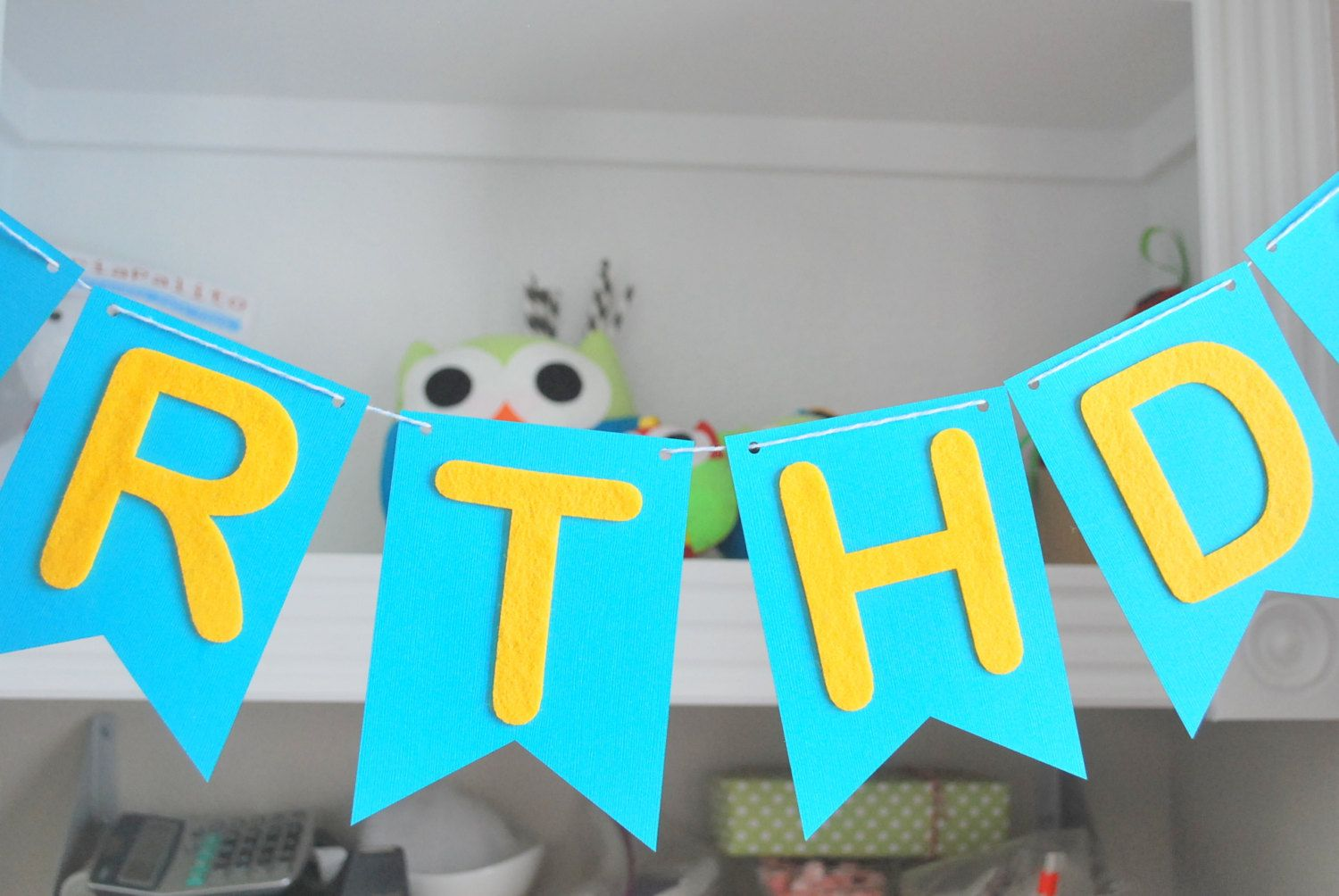 new to mariapalito on etsy birthday pennant banner felt die cut letters and cardstock pennant banner a705 1650 usd