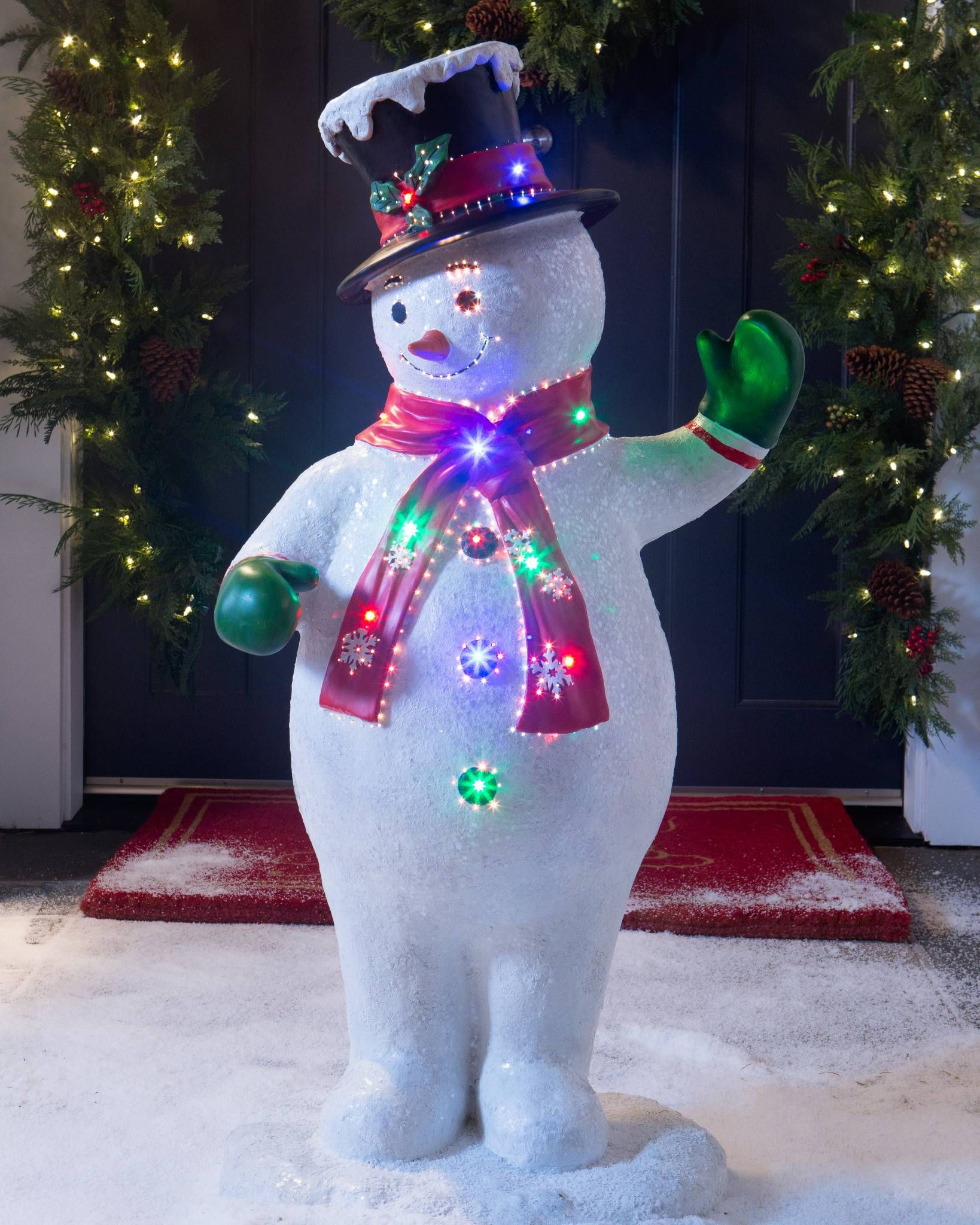 snowman with top hat christmas ornament sets christmas home merry christmas christmas ideas - Fiber Optic Snowman Christmas Decorations