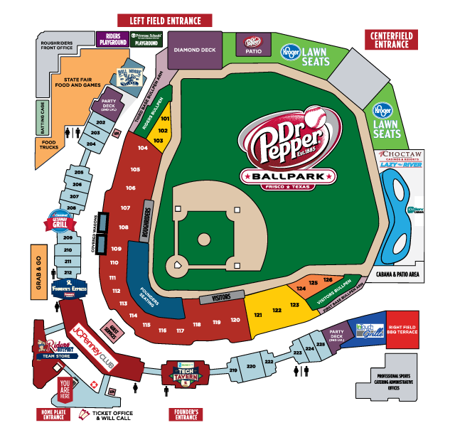 Seating Map Frisco Roughriders Content Texas Rangers Ballpark Frisco Roughriders Ballparks
