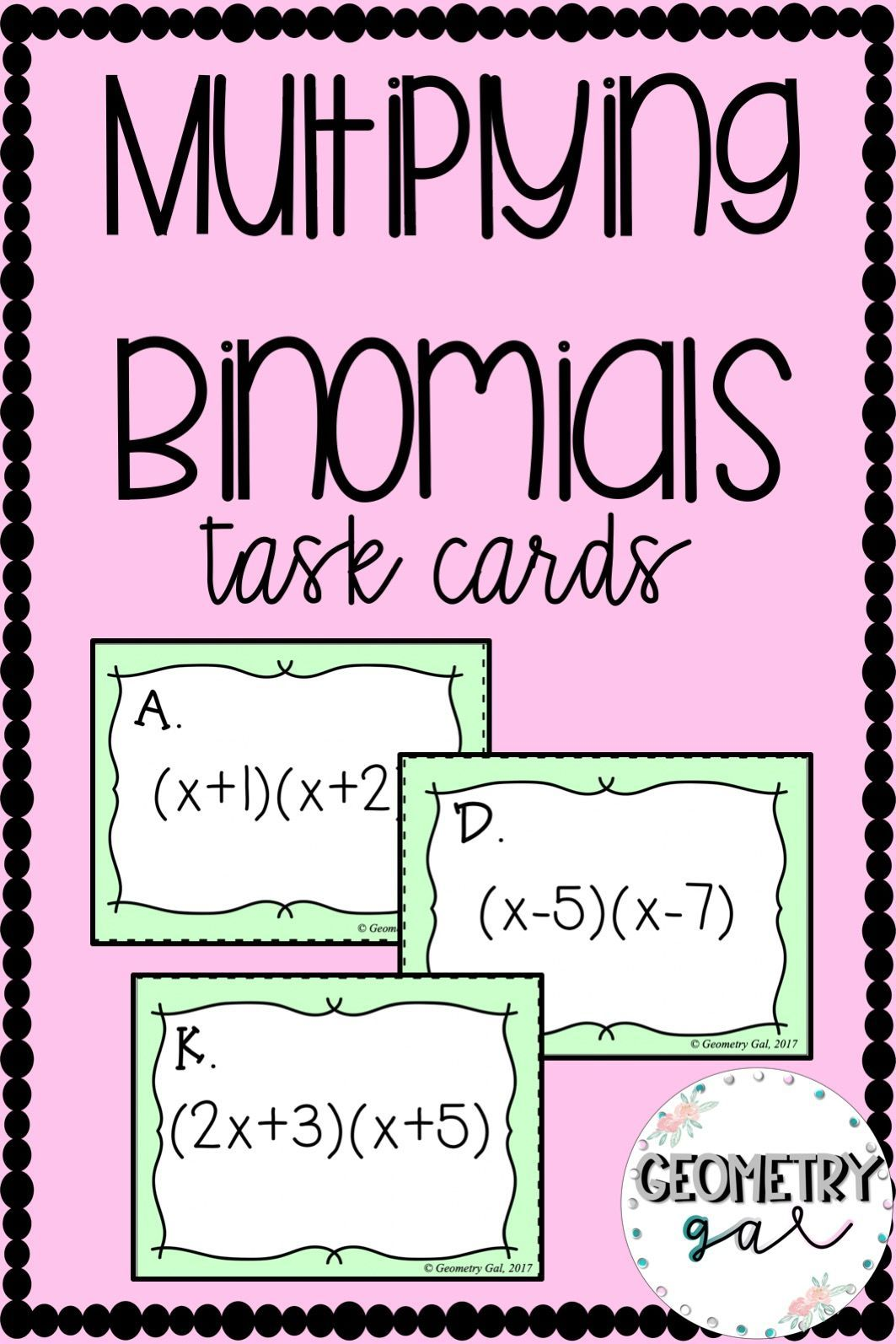 Binomials Beach Party Bonanza Practice Multiplying Binomials And Using Foil 2 Versions Included Wo Middle School Inspiration Task Cards Fun Math Activities
