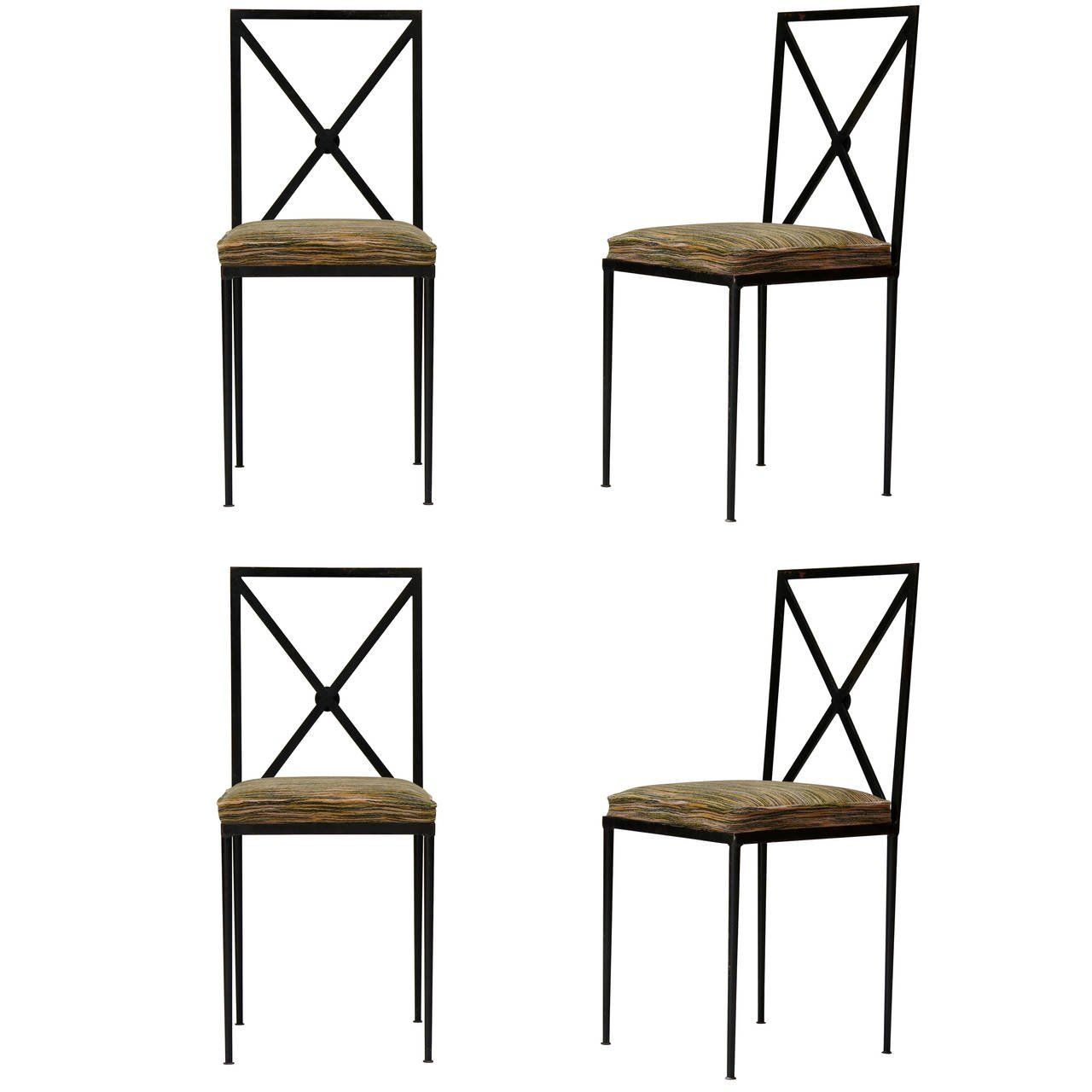 set of 4 iron chairs with velvet seats france 1950s iron set of 4 iron chairs with velvet seats france 1950s see more antique modern dining room