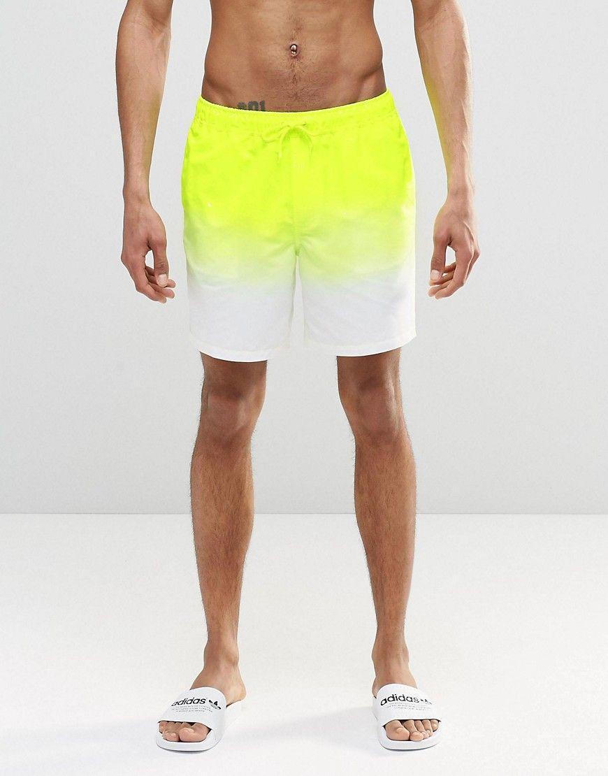 1a46e95ec8f Image 1 of ASOS Mid Length Swim Shorts In Neon Yellow Dip Dye | Look ...